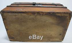 Late 19th c Antique Pine Dome Top Doll Trunk Miniature Travel Blanket Chest yqz