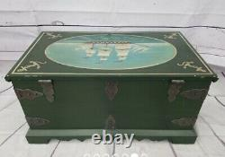MAITLAND SMITH Hand Painted Nautical Chest Trunk Diminutive Table WILL SHIP