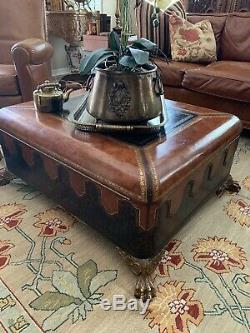 Maitland Smith Style Leather Covered Trunk/Coffee Table With Claw Feet
