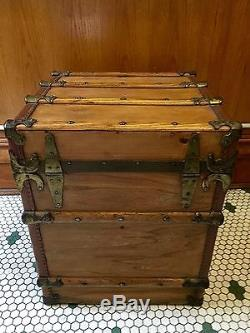 Marshal Field & Co Wood Flat Top Steamer Trunk With Ornate Brass & Leather Trim