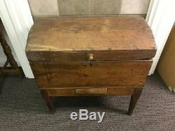 Mid-Size And Unique Antique Handmade Wood Trunk / Wardrobe On Legs