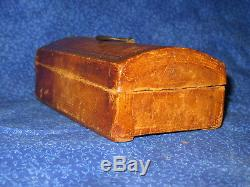 Miniature Antique Leather Covered Dome Top Trunk Iron Hardware