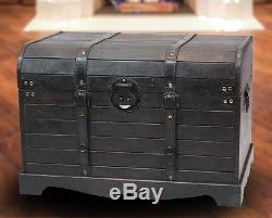 New Vintiquewise Antique Style Black Wooden Steamer Trunk, Coffee Table