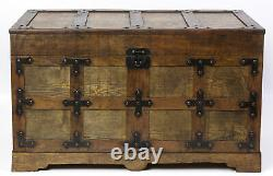 New Vintiquewise Rustic Natural Wooden Streamer Trunk with Studded detail, Large