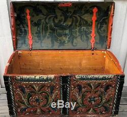 Norwegian Rosemaled trunk Dated 1851 Jon Torbjørnson Gjeiskelid Norway Viking
