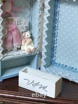 OOAK Vintage Artisan SIGNED Dollhouse Doll Trunk With Removable Doll 112
