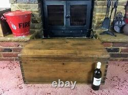 Old Antique Pine Chest, Vintage Wooden Storage Trunk, Blanket Box, Coffee Table