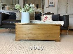 Old Antique Pine Wooden Blanket Chest, Trunk, Coffee Table, Storage Vintage Box