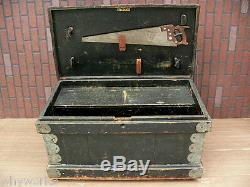 Old Green Paint Flat Top Antique Fitted Interior Carpenters Chest tool box