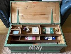 Old PINE CHEST, Wooden Blanket TRUNK, Coffee TABLE PAINTED Antique BOX and TRAYS