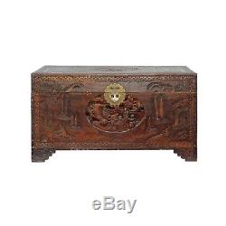 Oriental Asia Brown Relief Scenery Motif Carving Trunk Table cs4349