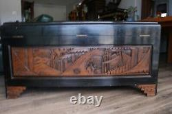 Outstanding Antique Glass Showcase Carved Chinese Camphor Trunk, 4' Long