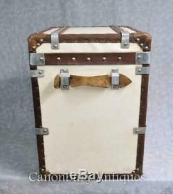 Pair of English Leather Luggage Boxes Chest Side Table Trunks Best Gift Item