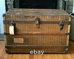 Park Avenue New York City Flat Top Steamer Trunk Coffee Table Antique Trunk