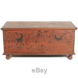 Primitive Antique 51 Ball Foot Blanket Chest Original Paint & Forged Hardware