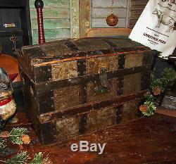 Primitive Antique Vtg Childs Doll Dome Steamer Wood Tin Metal Trunk Toy Chest