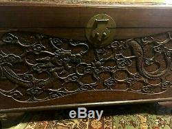RARE 19th c Chinese Champhor Carved Dragon Flaming Pearl Chest Trunk