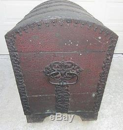 RARE Antique Wood Trunk withFantastic Hand Wrought Iron Detail