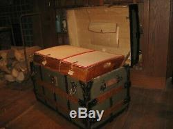 Rare 1873 Steamer Trunk Stage Coach Chest Orig A+ Interior Antique Hand Made
