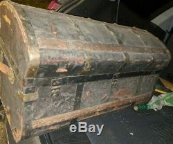 Rare Antique 1850's Jenny Lind Wood, Brass & Leather Steamer Dome Top Trunk