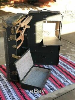 Rare Antique INDESTRUCTO Wardrobe Steamer Trunk withDrawers GREEN/GOLD