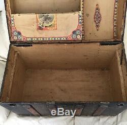 Rare Antique Steamer Trunk Ornate Vintage Humpback Chest With Drawer. On Rollers