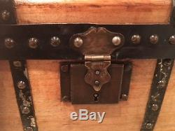 Rare Antique Wooden Child's Travel Trunk Refinished Interior Tray Handles