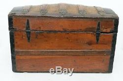 Rare Gorgeous Antique 1860's Ornate Dome Top Wood & Metal Chest Trunk