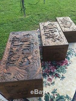 Rare nesting set of 3 Antique Oriental Trunk Chest camphor wood, carving