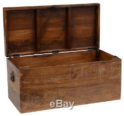 Reclaimed Wood Storage Box Coffee Cocktail Accent Table Rustic Art Antique Trunk