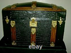 Refinished Antique Steamer Trunk Dome Top Alligator Tin WithTray & Oak Slats