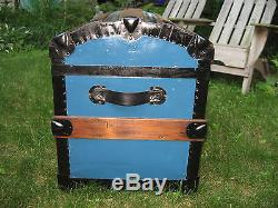 Restored 1800s Antique Dome Top Steamer Trunk Slats Stage Coach Chest w Insert