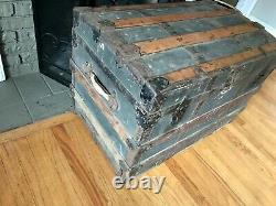 Round Top Steamer Trunk Antique Vintage Flat Top Trunk Treasure Chest