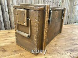 Rustic Wooden Ammo Box Chest Vintage Farmhouse Industrial Trunk Coffee Table