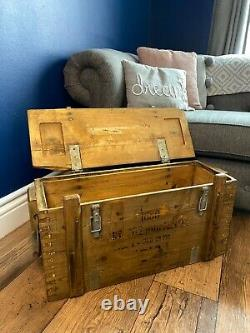 Rustic Wooden Ammo Box Chest Vintage Man Cave Industrial Trunk Coffee Table