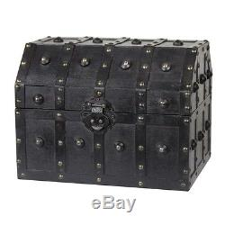 SMALL Wood Chest Antique Look Pirate Trunk Vintage Wooden Treasure Old Fashioned