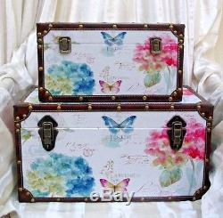 Set Of 2 Antique Style Decorative Storage Trunks / Boxes Butterfly Floral Design