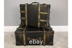 Set of 2 Large Vintage Style Storage Trunk Cases In Stunning Aged Effect Look