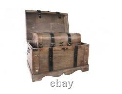 Set of 2 Wooden Trunks Storage Chests with Strap & Buckle detail