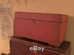 Sm Trunk Box Early Bittersweet Paint Dovetails Original Wooden Primitive