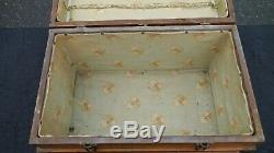 Small Antique Refinished Childs Travel or Toy Steamer Wood Flat top Trunk