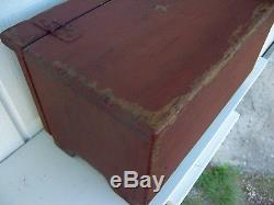 Small Miniature Primitive Painted Country Wooden Box Blanket Chest Bench Trunk