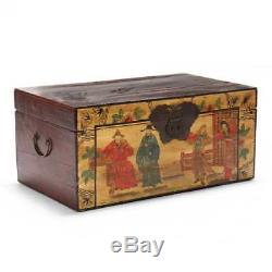 Spectacular Vintage 20th Century Chinese Painted Wooden Trunk Chest