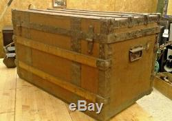 Stunning Victorian Canvas Cover with Wooden Ribs Travel Trunk
