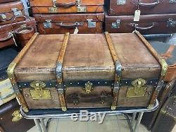 Stunning Vintage French Wood Steamer Cabin Trunk Ideal Coffee Table Blanket Box