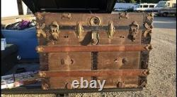 TIMES UP SALE -BEAUTIFUL ALL ORIGINAL1800s ANTIQUE STEAMER TRUNK FLATTOP WithTRAY