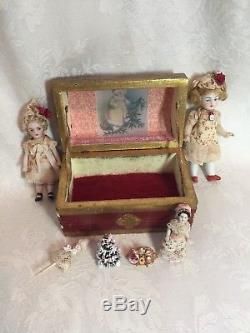 Tiny Red Antique Doll Trunk with Antique Dollhouse Dolls Set for Christmas 4.75