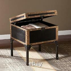 Travel Trunk End Table Storage Furniture Industrial Vintage Raised Antique Style