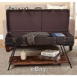Trunk Coffee Table Antique Chest Steamer Flat Top Coach Stage Vintage Wood New