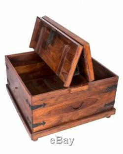 Trunks Coffee Table Antique steamer Vintage Storage Chests Box wood Flat Top
